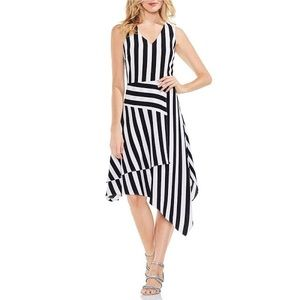 Vince Camuto Striped Asymmetrical Casual Dress